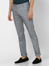 Grey  Checked Stretch Lean Fit Trouser