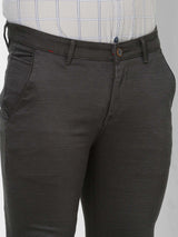 Grey  Printed Stretch Ultra Slim Fit Trouser
