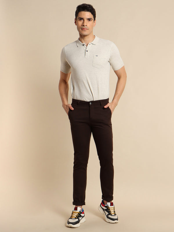 Brown Plain Stretch Trouser