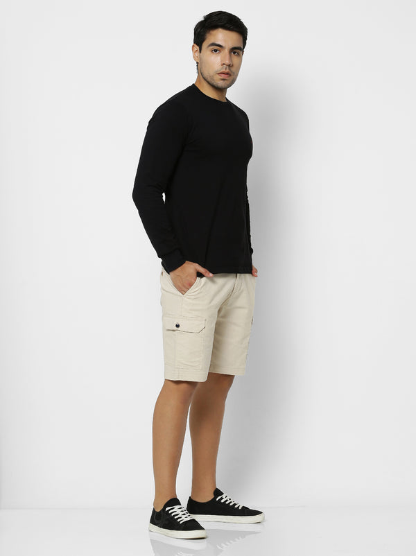 Cream Plain Stretch Cargo Shorts
