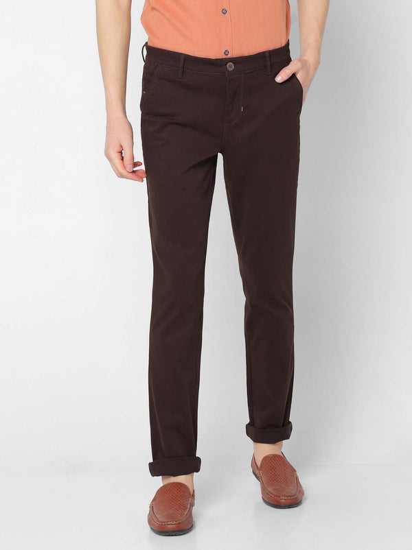 Brown  Plain Stretch Lean Fit Trouser