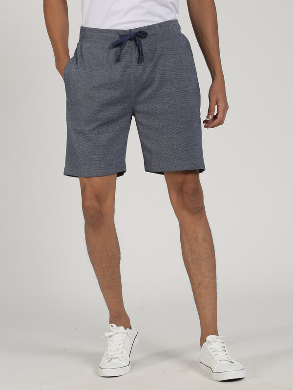 Navy Melange Plain Casual Short