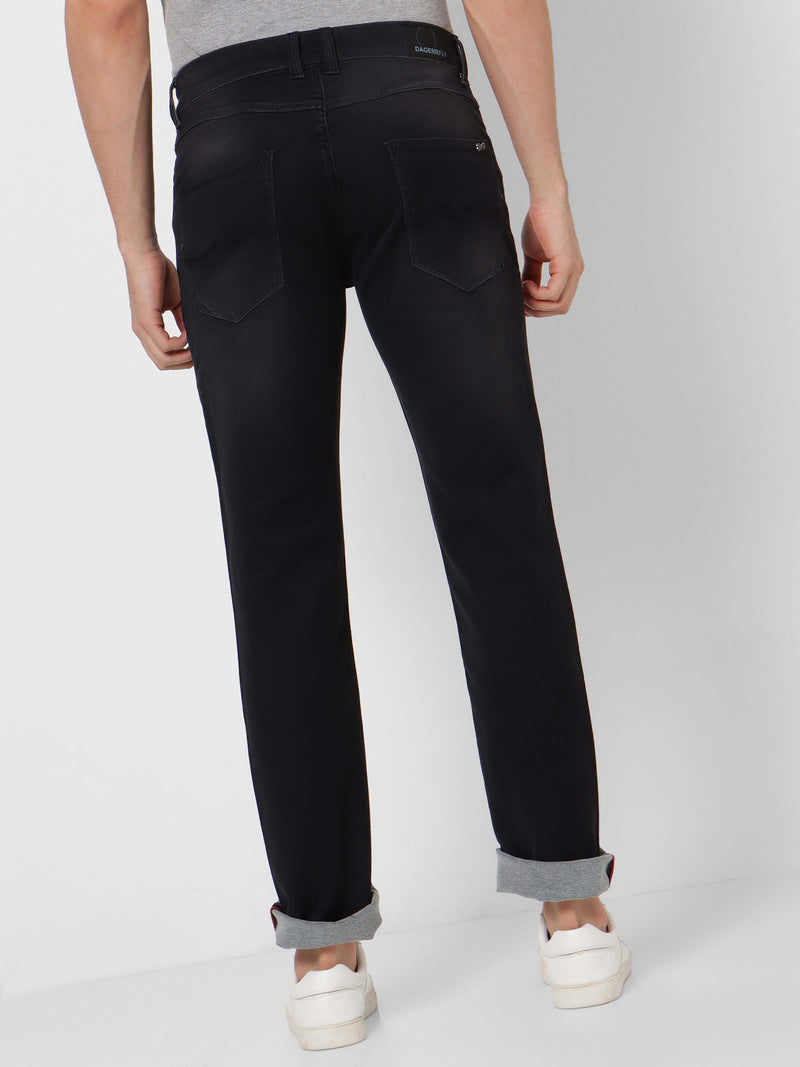 Black  Plain Stretch Straight Fit  Jeans
