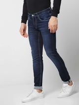 Dark Blue  Plain Stretch Dean Fit Jeans