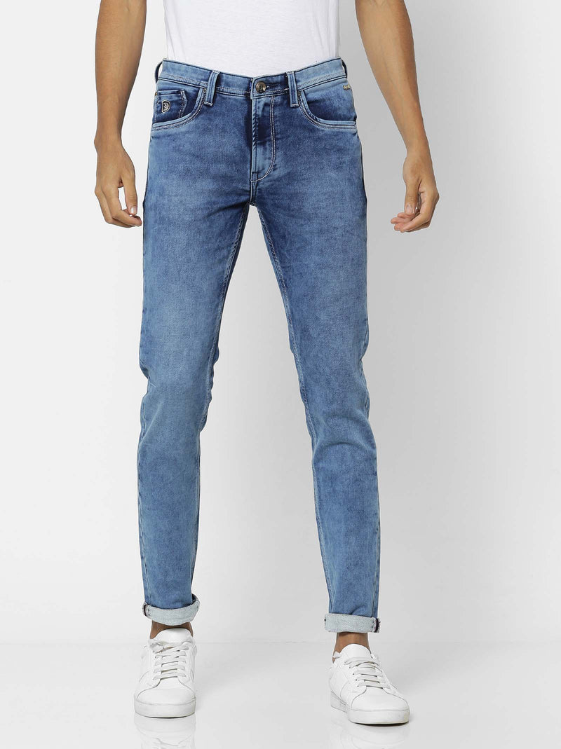 Light Blue  Plain Stretch Dean Fit Jeans