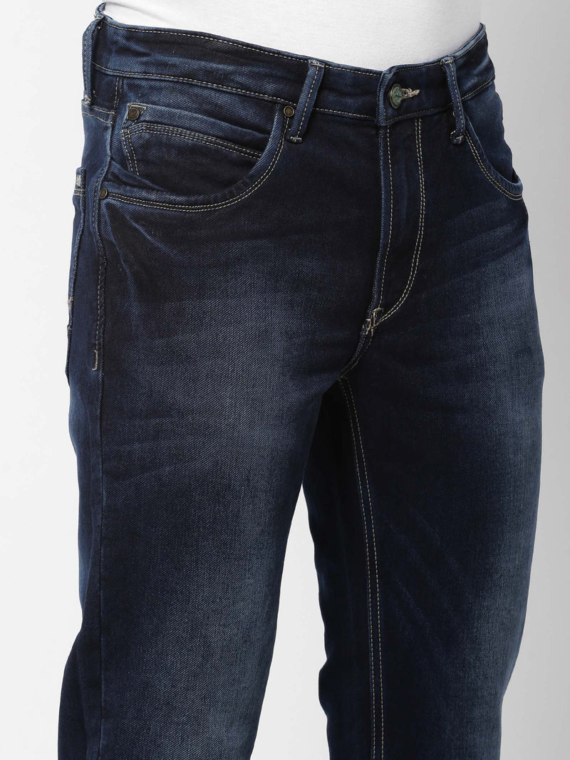 Dark Blue  Plain Stretch Straight Fit Jeans