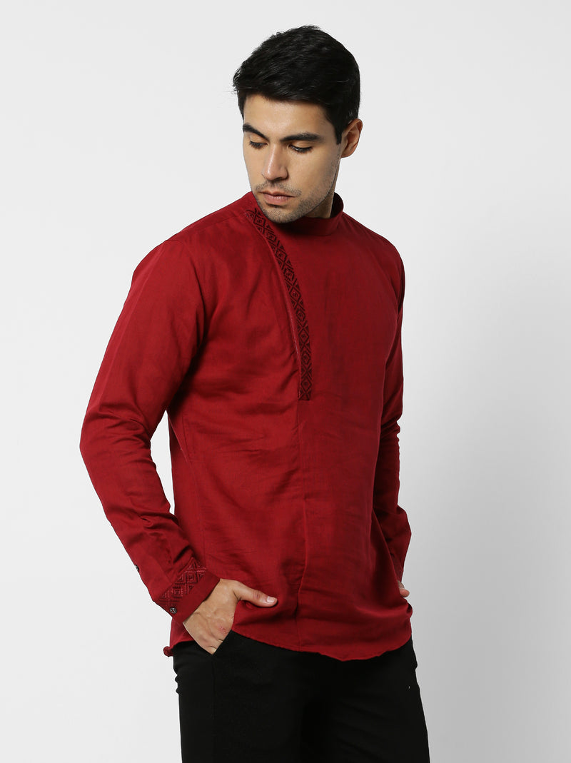 Red Linen Plain Party Wear Kurta