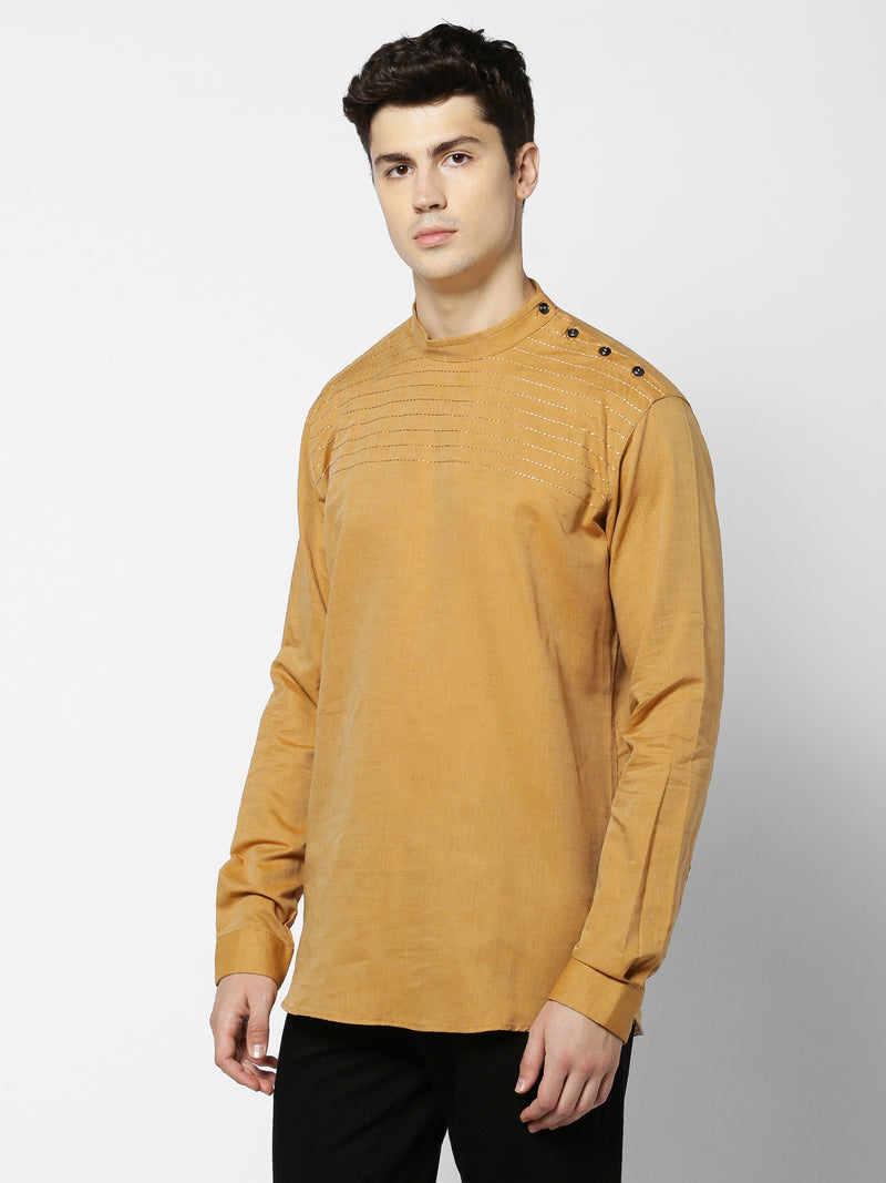 Khaki Linen Plain Party Wear Kurta