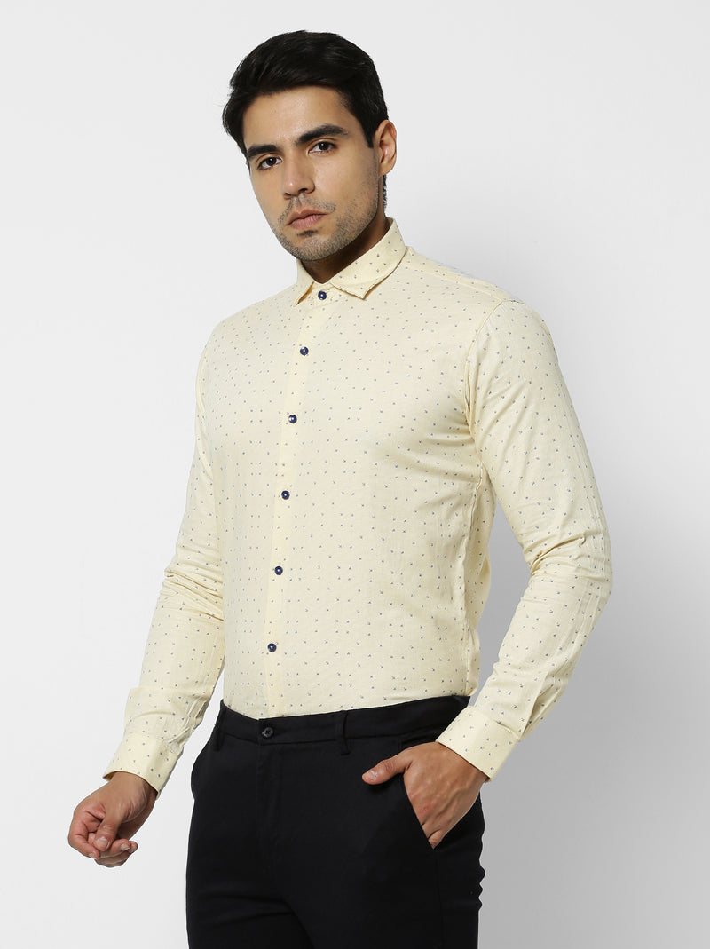Yellow Printed Party Wear Shirt