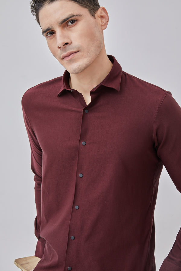Maroon Plain Stretch Party Wear Shirt