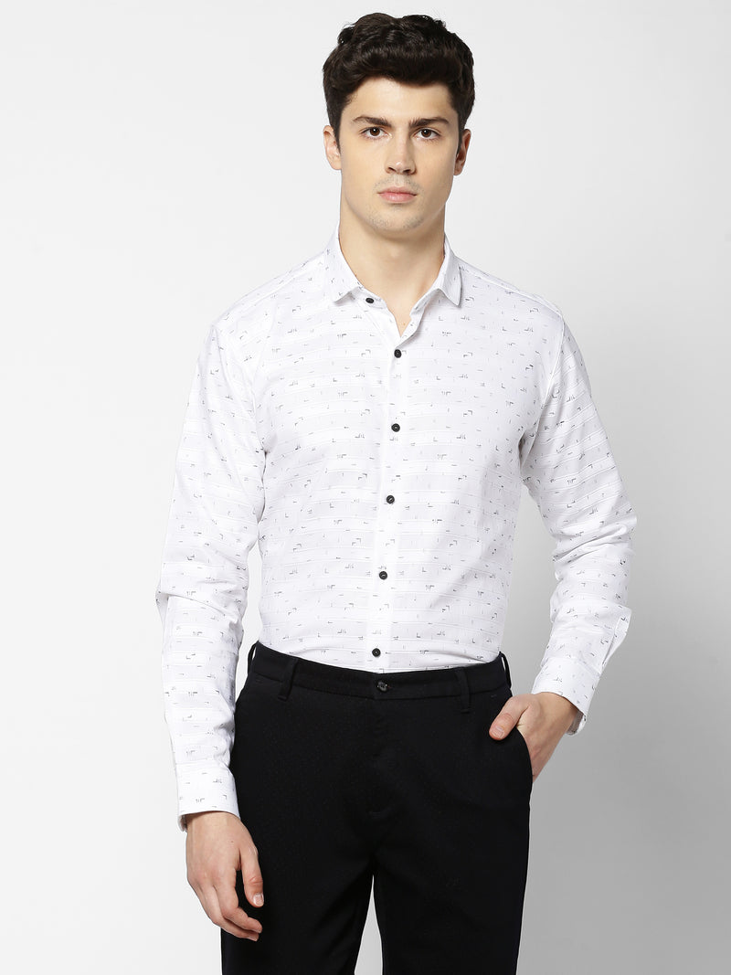 White Printed Party Wear Shirt