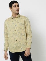 Khaki Printed Casual Shirt