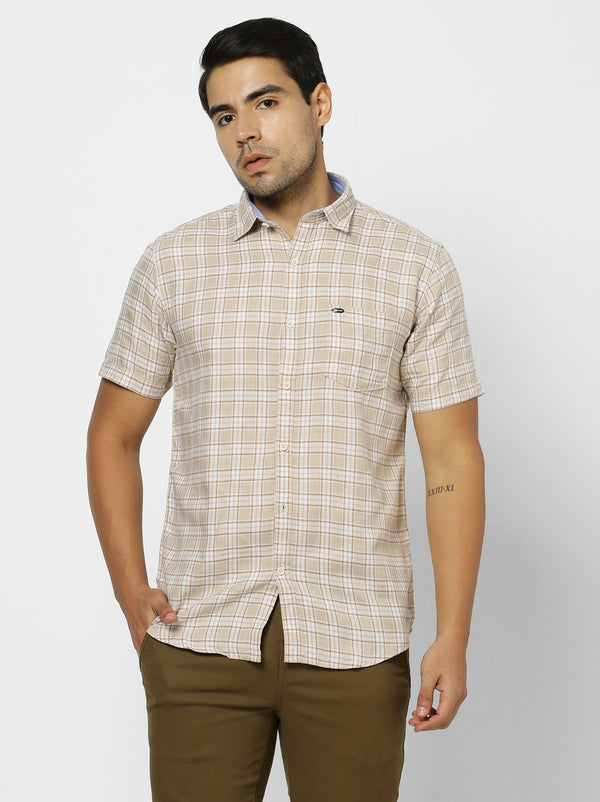 Khaki Checked Casual Shirt
