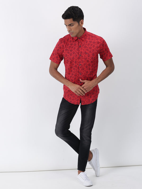 Red Printed Short Sleeve Casual Shirt