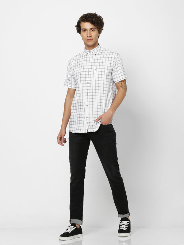 White Checked Stretch Casual Shirt
