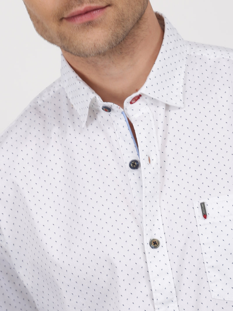 White Printed Long Sleeve Casual Shirt
