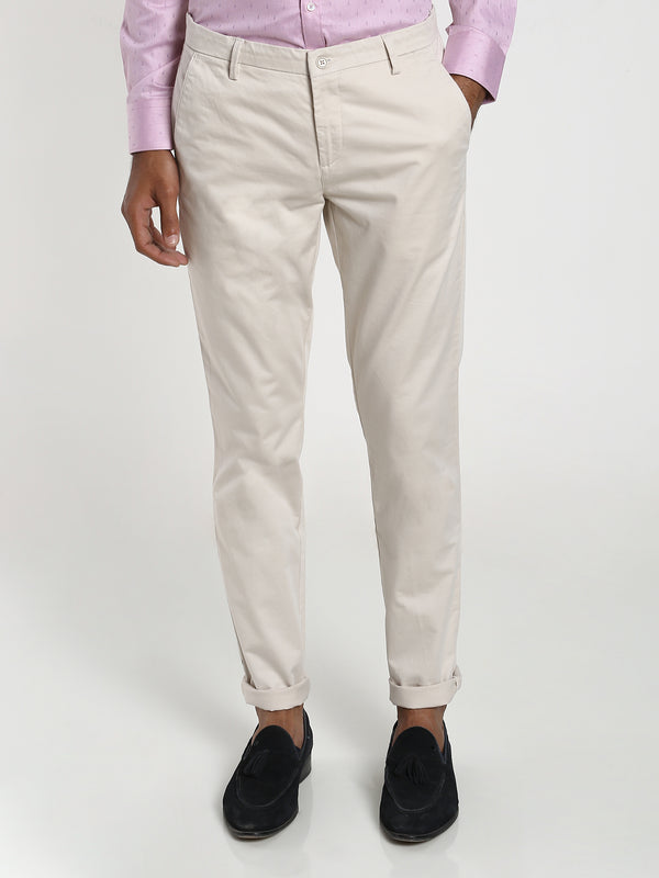 White Plain Stretch Trouser