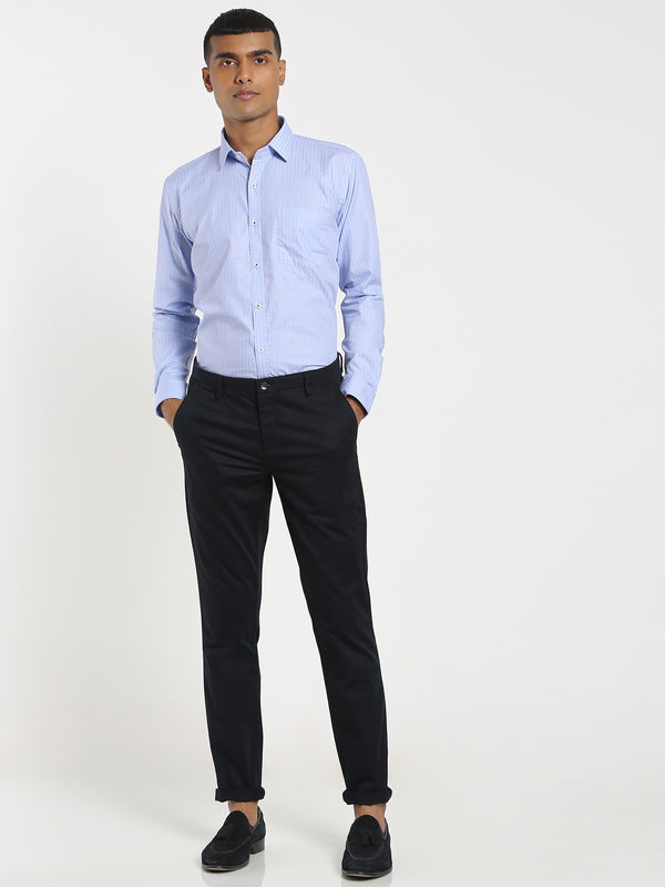 Navy Plain Stretch Trouser