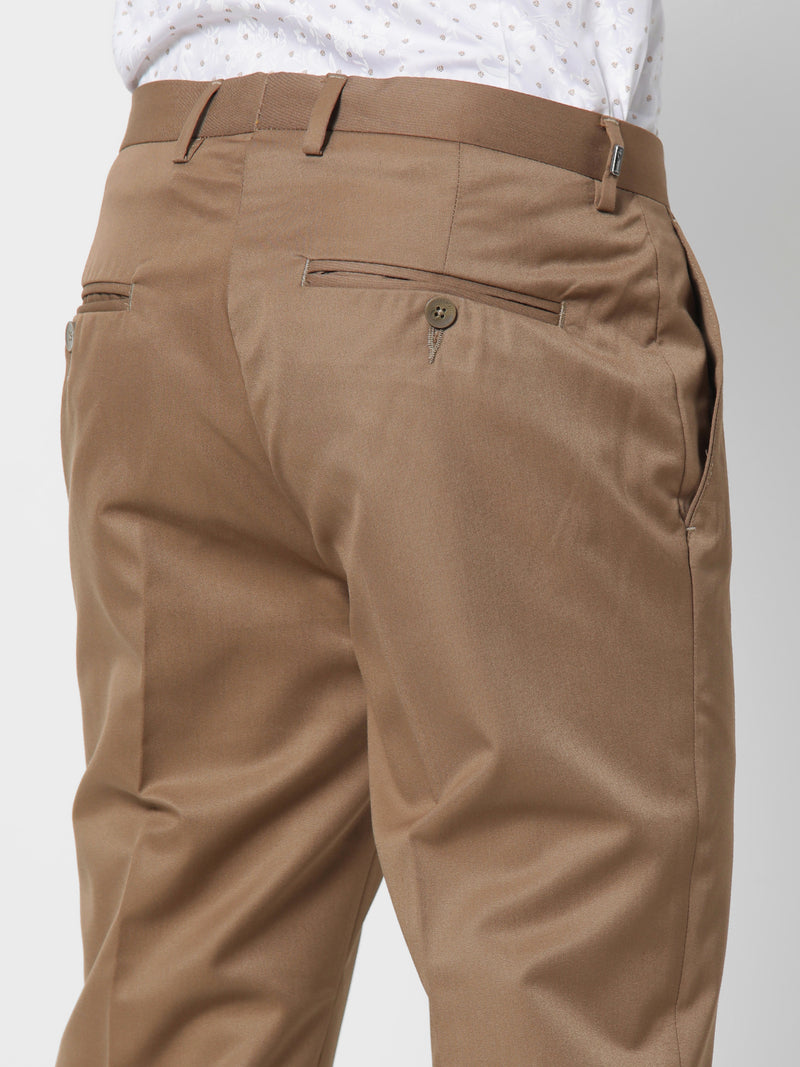 Khaki Plain Slim Fit Trouser