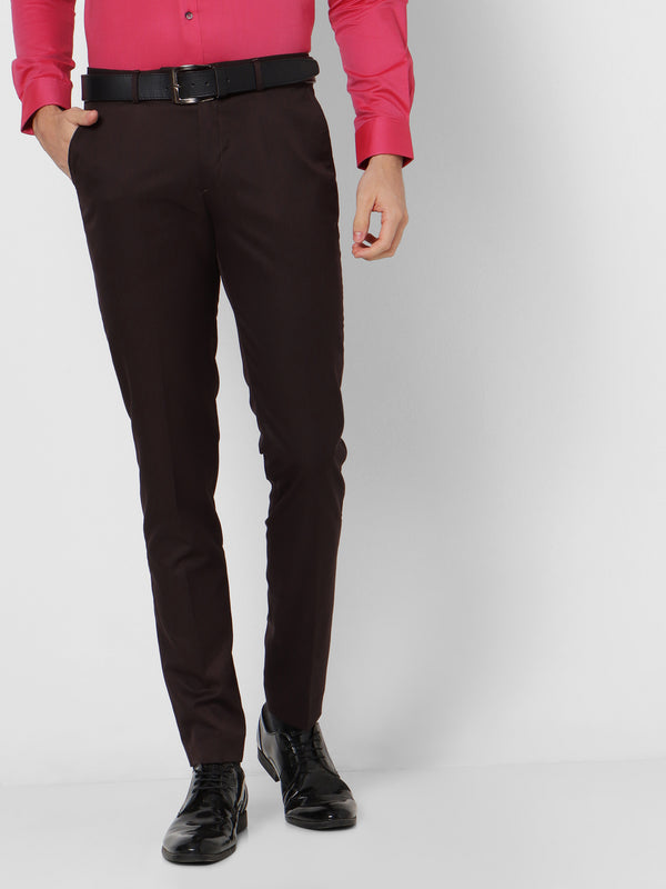Brown Plain Slim Fit Trouser