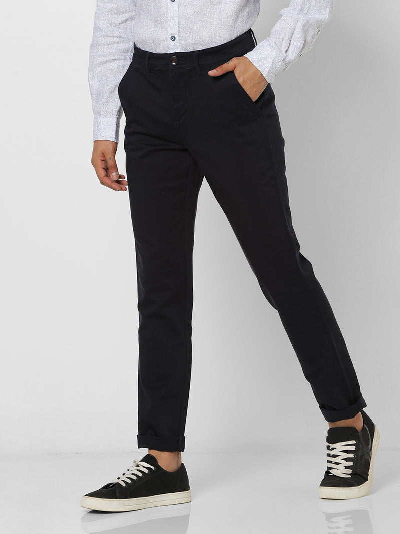 Navy Plain Stretch Lean Fit Trouser