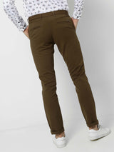 Green  Plain Stretch Lean Fit Trouser
