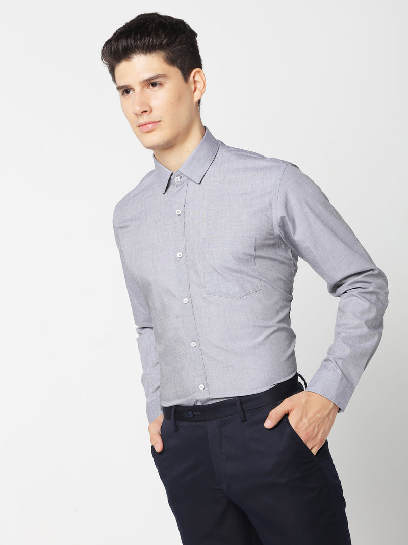 Grey Plain Formal Shirt