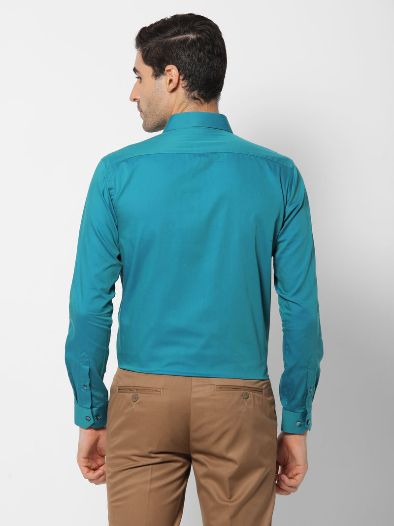 Green Plain Formal Shirt