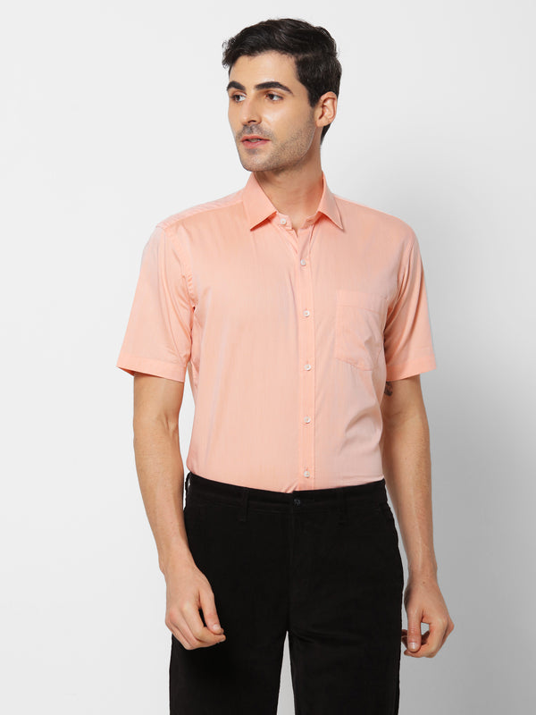 Orange Plain Formal Shirt