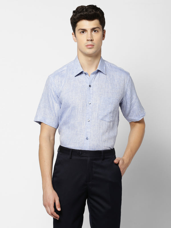 Blue Linen Plain Formal Shirt