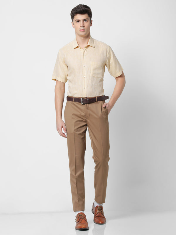Yellow Linen Plain Formal Shirt