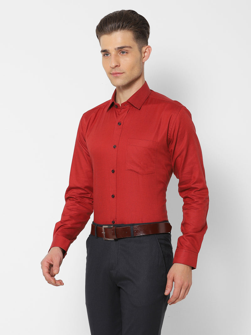 Red Plain Formal Shirt