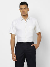 Cream Plain Formal Shirt