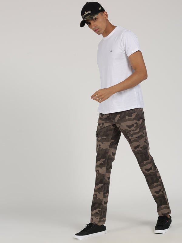 Brown Printed Lean Fit Cargo Trouser