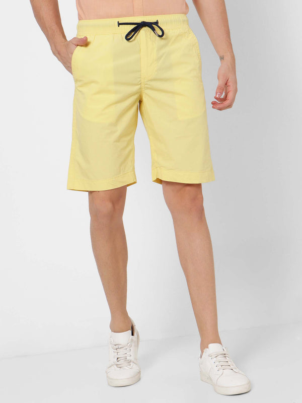 Yellow  Plain  Shorts
