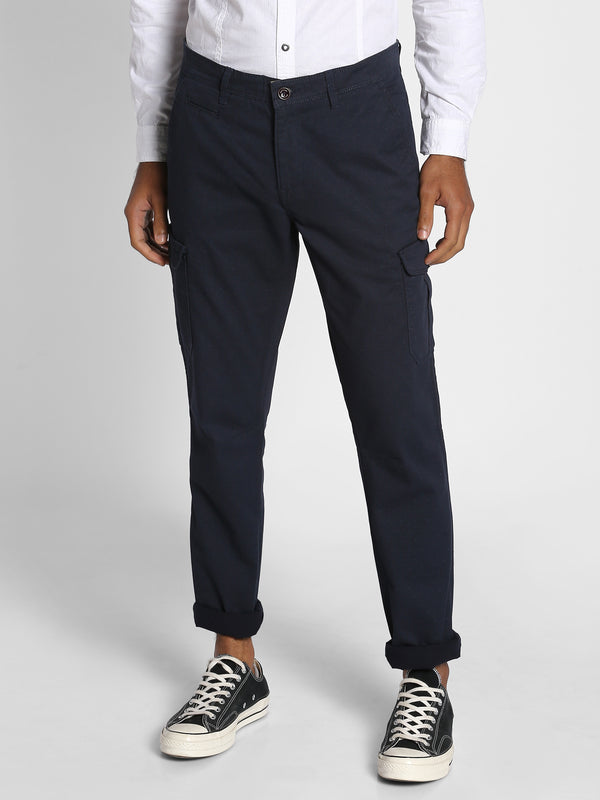 Navy Printed Stretch Cargo Trouser