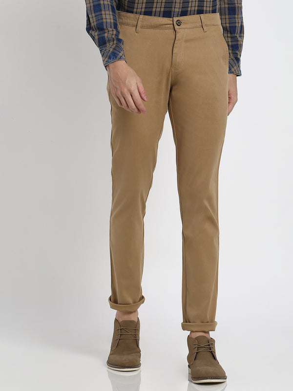 Beige Plain Stretch Trouser