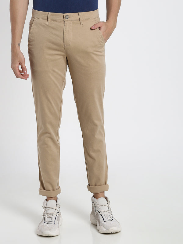Beige Printed Stretch Trouser