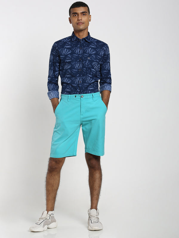 Aqua Green Plain Shorts