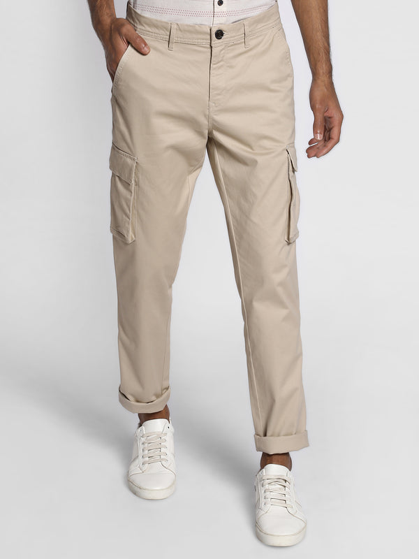 Beige Printed Stretch Cargo Trouser
