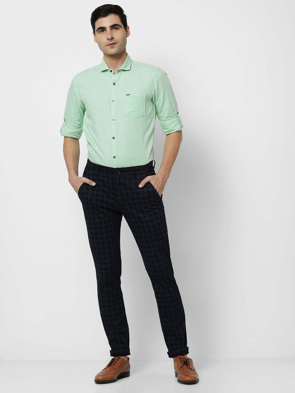 Navy  Checked Stretch Ultra Slim Fit Trouser