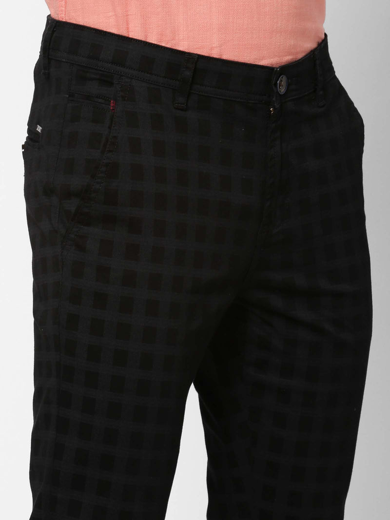 Black  Checked Stretch Ultra Slim Fit Trouser