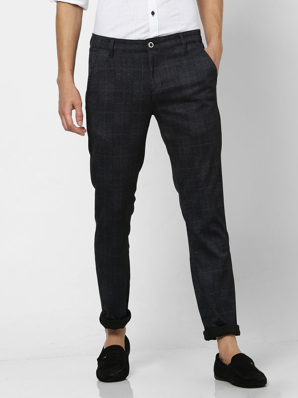 Black Checked 4-Way Stretch Ultra Slim Fit Trouser