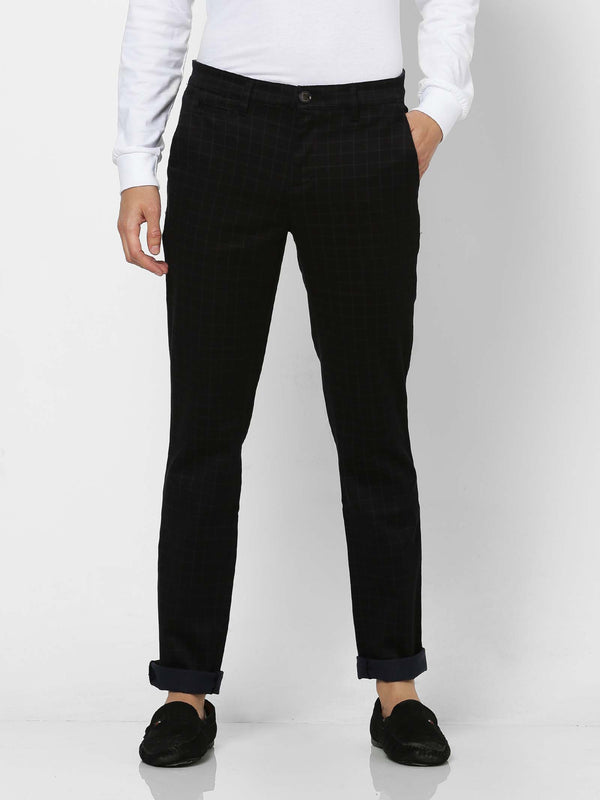 Black  Checked Stretch Lean Fit Trouser