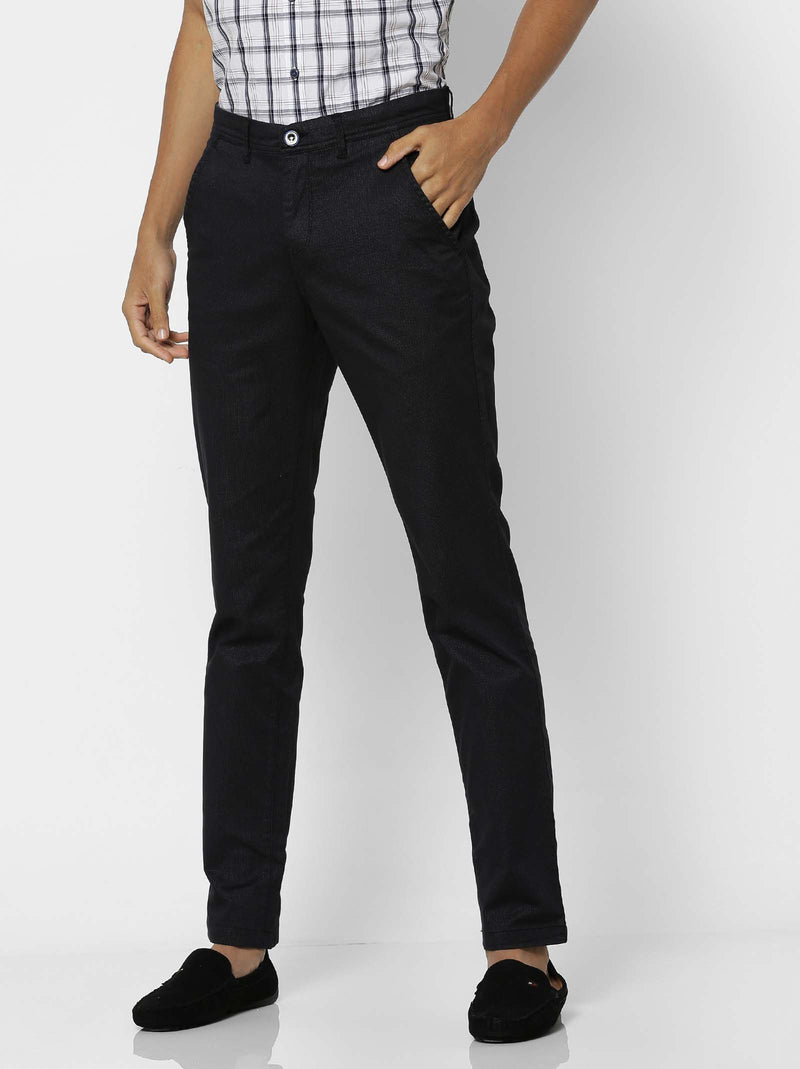 Black  Printed Stretch Lean Fit Trouser