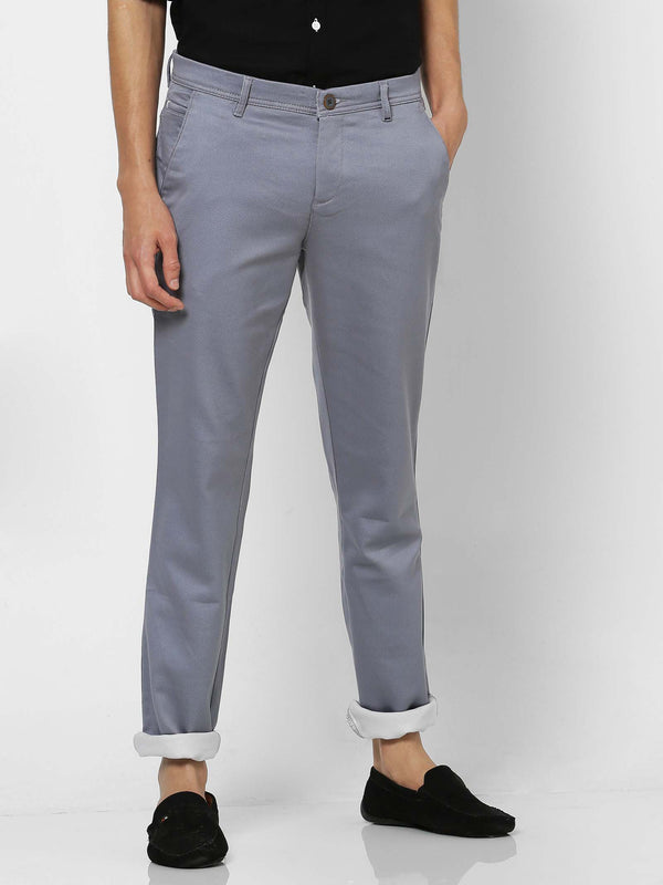 Grey  Printed Stretch Lean Fit Trouser