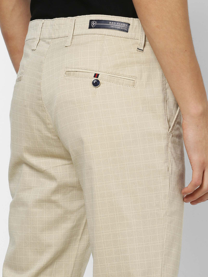 Cream  Checked Stretch Lean Fit Trouser