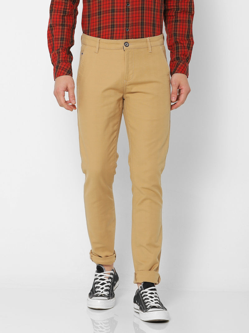 Khaki Checked Stretch Ultra Slim Fit Trouser
