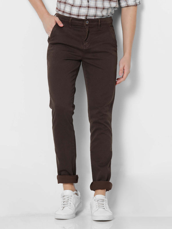 Brown Denim Printed Stretch Lean Fit Trouser