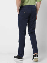 Navy Denim Printed Stretch Lean Fit Trouser
